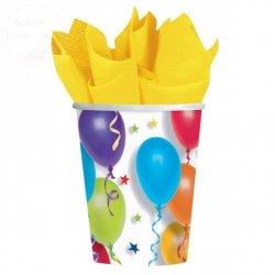 Kubeczki na urodziny papierowe 266 ml balony 8 szt