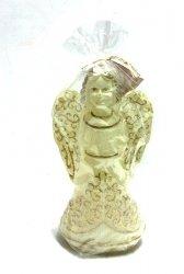 Świeczka Anioł z diodą kremowy z brokatem 1 szt