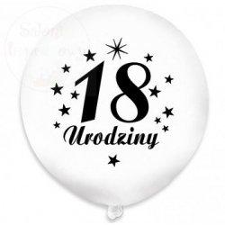 Balony białe z czarnym nadrukiem 18 Urodziny