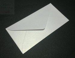 Koperta do zaproszeń biała metalic 8x16cm - 1szt