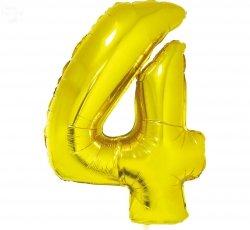 Balon foliowy złoty  Cyfra 4 85 cm