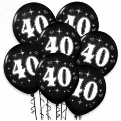 Balony urodzinowe na 40 metaliczne czarne 1 szt
