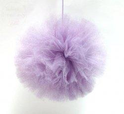 Pompon tiulowy duży liliowy z brokatem 20cm