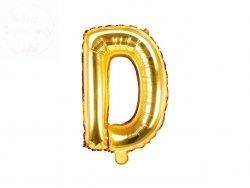 Balon foliowy Litera D 35 cm złoty