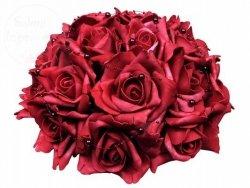 Bukiet kwiatowy z perełkami bordowy BUKD-082