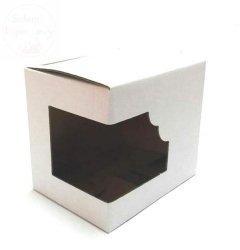 Pudełko na kubek białe z okienkiem na boku 1 szt