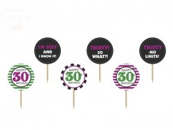 Dekoracje do muffinek 30 urodziny