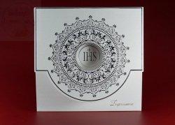 Zaproszenie komunijne ze srebrnym ornamentem -1szt