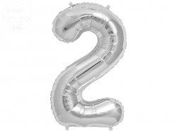 Balon foliowy  86cm  srebrny cyfra 2