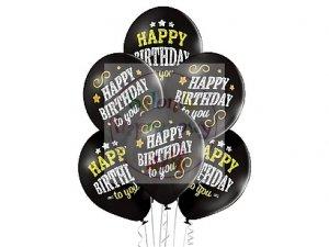Balony HAPPY BIRTHDAY czrane urodziny 12 cali