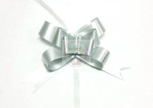 Wstążka ściągana 3cm srebrna metalik 1szt