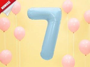 Balon foliowy cyfra 7 błękitna - 86 cm