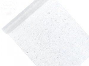 Organza 0,48x9m biała z perłowym wzorem