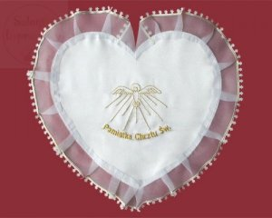 Szatka do chrztu serce ze złotym haftem 1.7.14 BZL