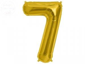 Balon foliowy 34 cale cyfra 7 złota