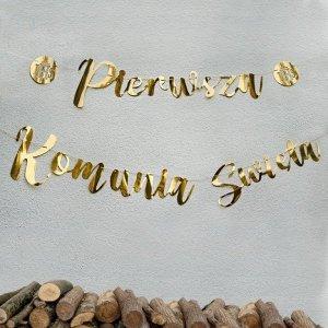 Baner złoty metalizowany Pierwsza Komunia święta