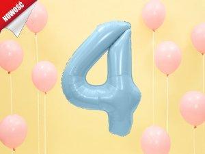 Balon foliowy cyfra 4 błękitna - 86 cm