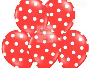 Balony czerwone w białe kropki 30 cm