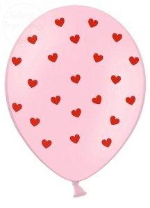 Balony 30 cm różówe w czerwone serca 1 szt