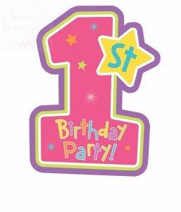 Zaproszenie urodzinowe na roczek RÓŻOWA 1 1 szt