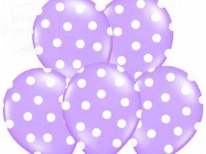 Balony 14cali pastel lawendowe w białe kropki 1szt