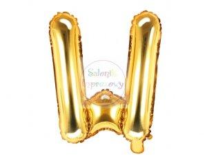 Balon foliowy Litera W 35 cm złoty