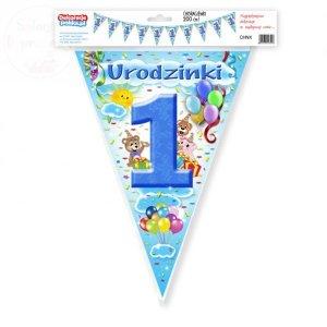 Chorągiewki, flagi 1 Urodzinki błękit 200cm ROCZEK