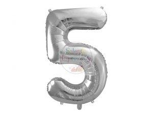 Balon foliowy  86 cm srebrny cyfra 5