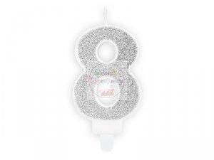 Świeczka urodzinowa cyferka 8 srebrna z brokatem
