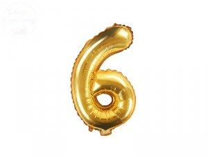 Balon foliowy cyfra 6 złota  86 cm