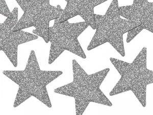 Dekoracje brokatowe srebrna gwiazdka 8szt