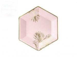 Talerzyki Liście jasny róż + złoto 23cm 6szt