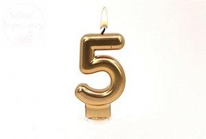 Świeczka urodzinowa cyferka złota 5