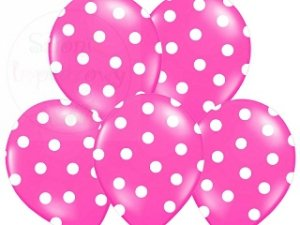 Balony 14cali pastel różowe w białe kropki
