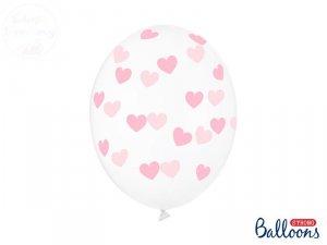 Balony przezroczyste w jasno różowe serduszka 30cm