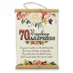 Dyplom bambus Wszytskiego najlepszego 70 urodziny