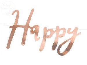 Baner HAPPY BIRTHDAY różowe złoto 16,5 x 62 cm