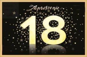 Zaproszenie na osiemnastkę złota 18 z gwiazdkami 1