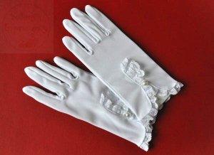Rękawiczki komunijne z koronką oraz perełką 1 para
