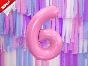 Balon foliowy cyfra 6 różowa - 86 cm