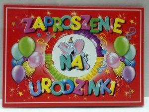 Zaproszenie na urodzinki z słonikiem 1szt ZX6500