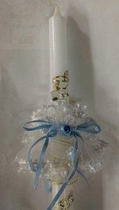Stroik do świecy z tiulu z błękitnymi dodatkami