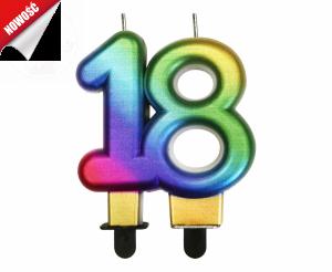 Świeczka cyferka urodzinowa 18 tęczowa