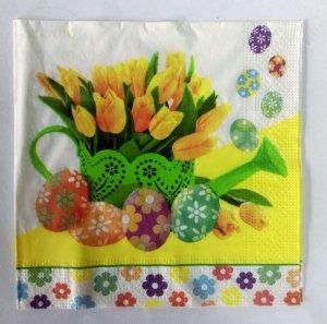 Serwetki Wielkanocne 33x33 20szt Żółte Tulipany