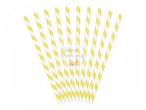 Słomki papierowe żółte wzorek 10szt
