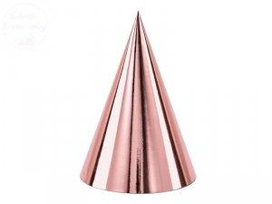 Czapeczki urodzinowe różowe złoto 10 cm 6szt