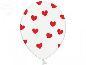 Balony 14 cali białe w czerwone serca 1szt