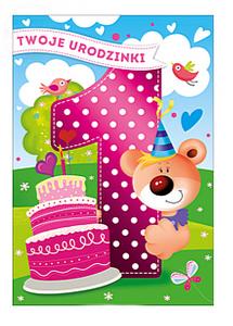 Karnet mega Roczek Różowa JEDYNECZKA  48x33cm