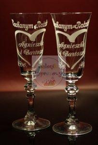 Grawerowane kieliszki do szampana podziękowania dla rodziców w białym pudełku
