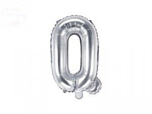 Balon foliowy Litera Q 35 cm srebrny